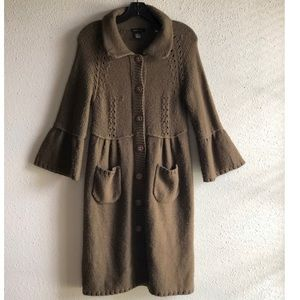 BCBGMaxazria Full Length Long Brown Cardigan Sz L